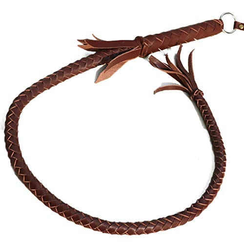 Chinashow Látigo de equitación Hecho a Mano, Cuero Trenzado Profesional, Color marrón (70 cm)