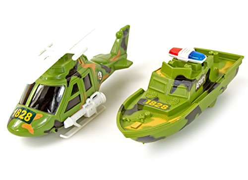 Nick and Ben Militär-Spielzeug Kinder-Spielzeug Bundeswehr-Set Kampf-Hubschrauber Motorboot Truppen-Boot Fahrzeuge Armee Autos Kunststoff xx cm