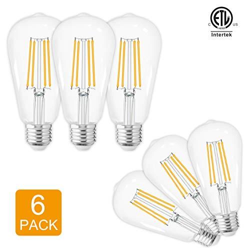 LED Edison Bulbs Vintage,Warm White 2700K,60 Watt Equivalent,ST58 Chandelier Fan Filament Light Bulb,E26 Base,800 Lumen,Non Dimmable,Pack of 6