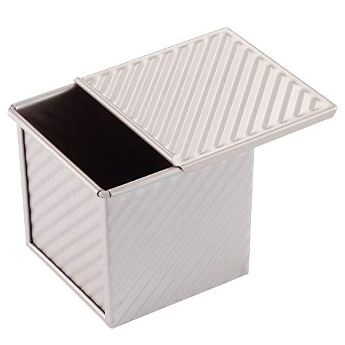 CHEFMADE Mini Pullman Loaf Pan with Lid, 0.55Lb Dough Capacity Non-Stick Rectangle Corrugated Toast Box for Oven Baking 3.9' x 3.9'x 3.9'(Champagne Gold)