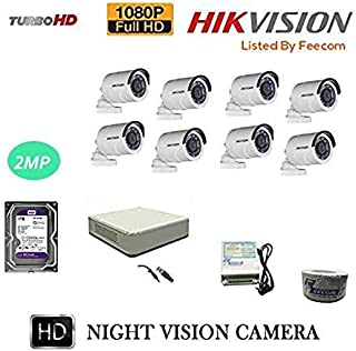 FEECOM HIKVISION Full HD 2MP Cameras Combo KIT 8CH HD DVR+ 8 Bullet Cameras + 1-TB Hard DISC+ Wire ROLL +Supply & All Required CONNECTORS