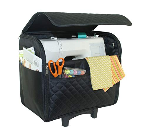Everything Mary Black Quilted Rolling Sewing Machine Tote - Sewing Machine Case Fits Most Standard Brother & Singer Sewing Machines, Sewing Bag with Wheels & Telescoping Handle - Portable Sewing Case
