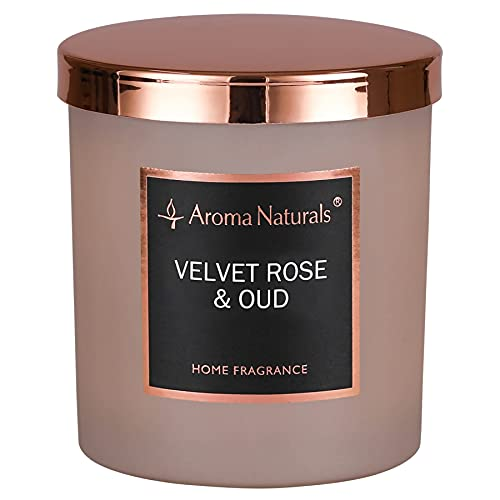 Aroma Naturals Luxury Scented Candle, 215g, 35 Hours Burning Time,Natural Soy Wax, Home Fragrance Decor Gift, Medium Jar (Velvet Rose & Oud)