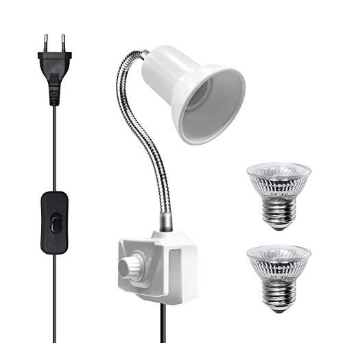 Bonlux E27 Lámpara para Tortuga con Pinza con EU Enchufe e Interruptor, Lámpara de Reptiles y Anfibios con 2 Bombillas de Luz Solar UVA UVB de 25W y Abrazadera Giratoria de 360 Grados(Blanco)