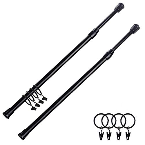 """ABK Tension Rods -2 Pack Spring Curtain Rods 28"""" to 48"""" Closet Rod with 4 Pieces Curtain Rings ,Extendable Adjustable Spring Rods Shower Curtain Rods(Black)"""