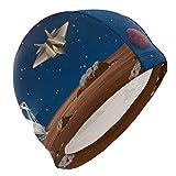 Bonnet de Bain Alino - Motif Galaxie et planète - avec Parabole Satellite - Imperméable - pour Adulte et garçon