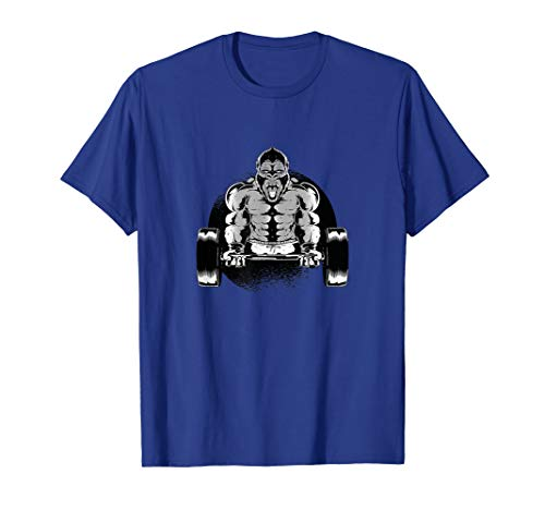 Gorilla mit Langhantel im Fitness Studio / Gym T-Shirt