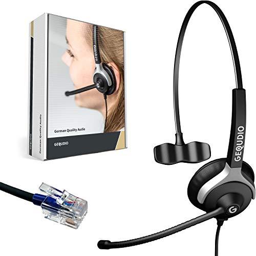 GEQUDIO Headset kompatibel mit Cisco Telefon - inklusive RJ Kabel - Kopfhörer & Mikrofon mit Ersatz Polster - Anschlusskabel flexibel wechselbar - besonders leicht 60g (1-Ohr)