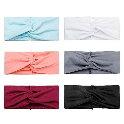 Huachi Twisted Headbands for Women Wide Headwrap Thick Elastic Turban Yoga Workout Knotted Solid Color Hair Accessories, 6 Pack