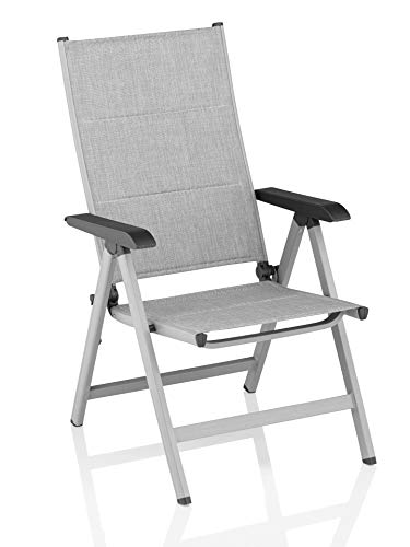Kettler Basic Plus Folding Chair Padded Adjustable - Easy to Collapse - Practical Folding Chair - Aluminium & Robust Plastic - Weatherproof Garden Furniture - Silver/Anthracite