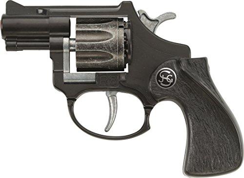 Schrödel J.G. R8: Spielzeugpistole mit Daumenauflage, ideale Ausrüstung für kleine Polizisten, 8-Schuss-Munition, 12 cm, schwarz (100 0281)