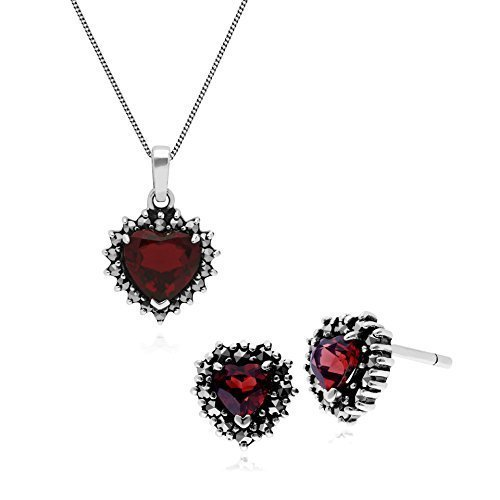 Gemondo Plata de Ley Granate & Marcasita Pendientes de Presión en Forma de Corazón & 45cm Necklace Set