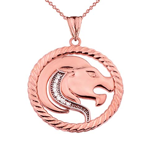 Diamond Leo Zodiac in Rope Pendant Necklace Necklace in 9 ct Gold Rose Gold (Available Chain Length 16'- 18'- 20'- 22') D