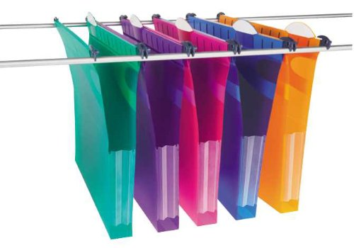 Rexel A4 Heavy Duty Suspension Files with Tabs and Inserts for Filing Cabinets, 30 mm base, Polypropylene, Assorted Colours, Multifile Extra Secura, Pack of 10, 2102573