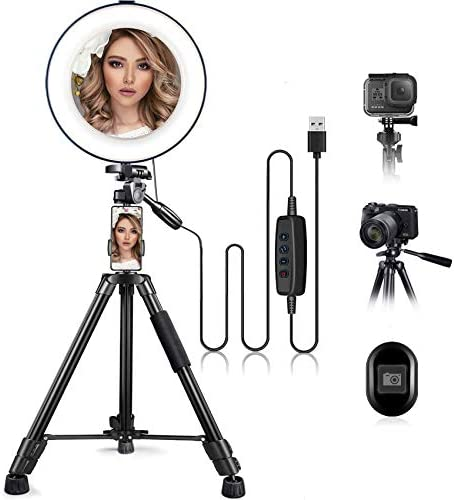 10 Ring Light with Stand and Phone Holder HQOON Upgraded LED Selfie Ringlight with 52 Extendable product image