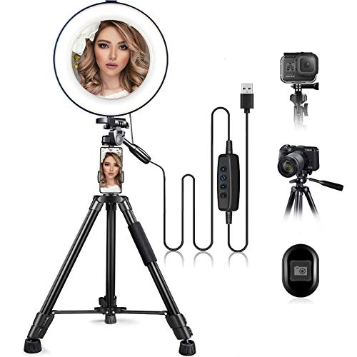 10' Ring Light with Stand and Phone Holder, HQOON Upgraded LED Selfie Ringlight with 52' Extendable...