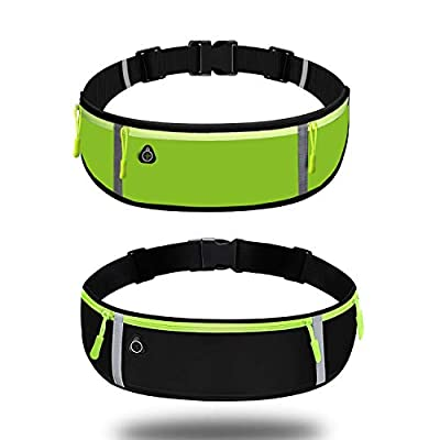 Running Belt Waist Bag with Waterproof Adjustable Elastic Strap,Running Pouch Waist pack with Reflective Strips and Headphone Hole Ideal Adjustable for Running and Outdoor Activities