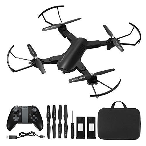 Powerextra Drohne mit Kamera Mobile App Steuerung Drohne mit WiFi FPV HD 720P EIN-Knopf-Start und Landung G-Sensor 3D Flip Spielzeugflugzeug - 2 x Batterien für Anfänger