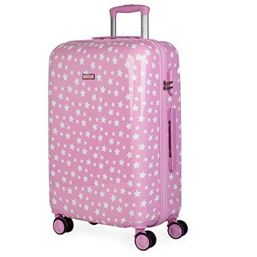 ITACA - Maleta de Viaje Juvenil niña rígida 4 Ruedas Trolley Mediana Grande de la Serie Estrellas. Dura y Ligera. candado de Combinación. 702460, Color Rosa