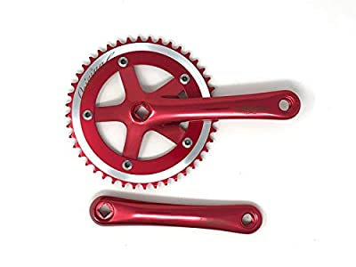 Lasco Forged Road Bicycle Crankset for Fixed Gear or Single Speed, 44T, 165mm Length (Red)