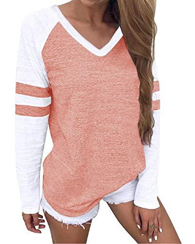YOINS Pulli Damen Langarmshirt Sweatshirt mit Streifen Rundhals Ausschnitt Oversize Hemd Jumper Bluse Tops V Ausschnitt-Koralle 40-42
