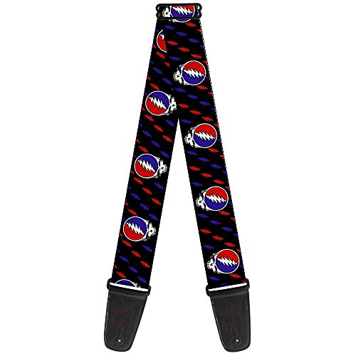 Guitar Strap Steal Your Face Mini Lightning Bolt Black Red White Blue 2 Inches Wide