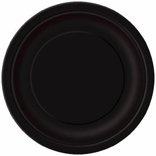 Unique Party - Platos de Papel - 23 cm - Negro - Paquete de 16 (32080)