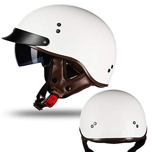 Motorradhelm Halbhelme Brain-Cap · Halbschale Motorrad Helm Scooter-Helm Jet-Helm Motorrad Half Helm Offener Helm mit Brille für Scooter Roller Biker,ECE-Zertifizierter