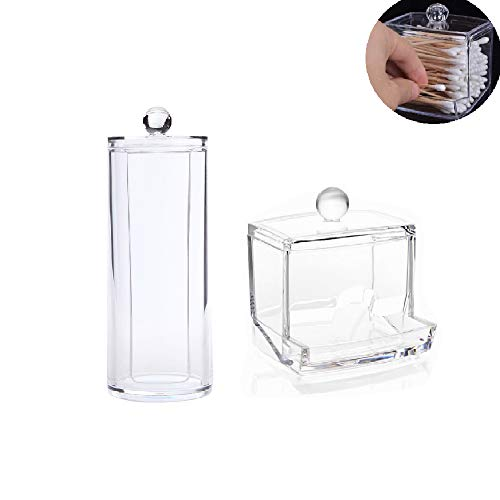 Wattestäbchen-Box Make-up Aufbewahrung Kosmetik Organizer ,Transparenter Aufbewahrungsbox aus Baumwolle,Make Up Case Klar Baumwolle Ball & Swab Halterung(2Pcs)