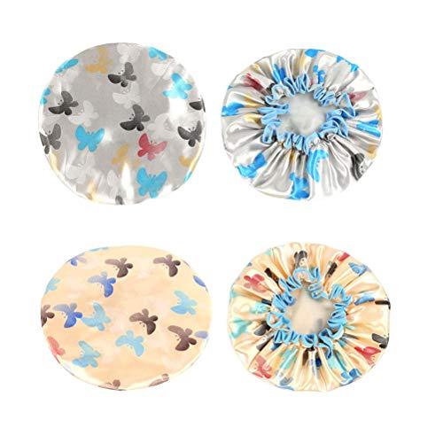 SUPVOX 2pcs Bonnets de Bain Elastique Imperméable avec Motif Papillon Bonnet de Cheveux Bonnets de Douche Abricot Gris