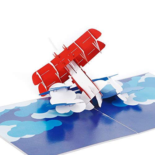 Liif Airplane 3D Fathers Day Pop Up Card For All Occasions, 3D Bi-plane Card, Happy Birthday Card For Kids, Boyfriend, Son, Congratulations Card, Unique Gifts For Pilot, Plane Traveler, Aviation Gifts