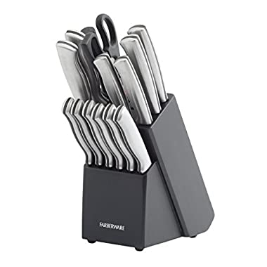 Farberware 15-Piece Stamped Stainless Steel Knife Block Set