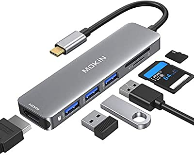 USB C to HDMI Adapter, 6 IN 1 MacBook Pro Adapter USB C Hub 4K @60Hz for MacBook Pro 2020-2016, MacBook Air 2020-2018, Ipad Pro 2020, Surface Pro 7, Dell XPS, USB C to 4K HDMI, SD/TF and 3 USB