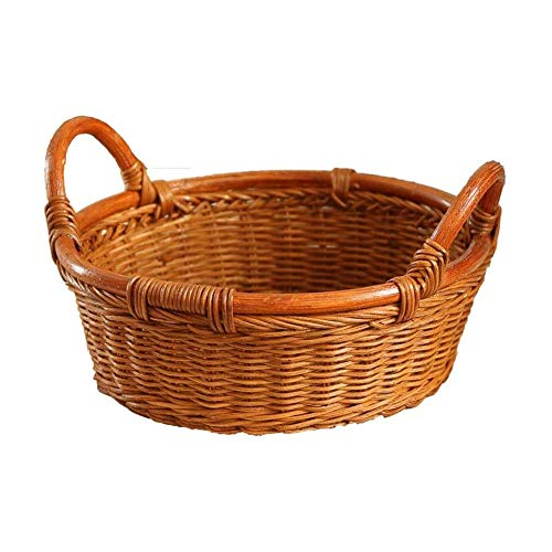 ZHENAO Natural Wicker Basket Dining Table Bread Basket Wicker Storage Basket Fruit Snacks Storage Box Child Toy Basket Handmade Storage Bag