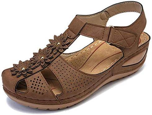 Women's Comfort Cutout Hook and Loop Summer Athletic Wedge Sandals Ankle Strap Walking Flat Flip-Flops Loafers Shoes Soft Bottom Platform Sandals