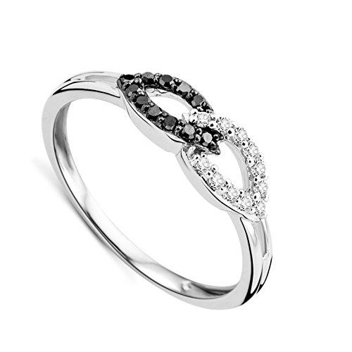 Orovi Damen Infinity ring Verlobungsring Weißgold 9 Karat (375) Memoire Hochzeitsring Brillianten 0.16 carat Diamantring