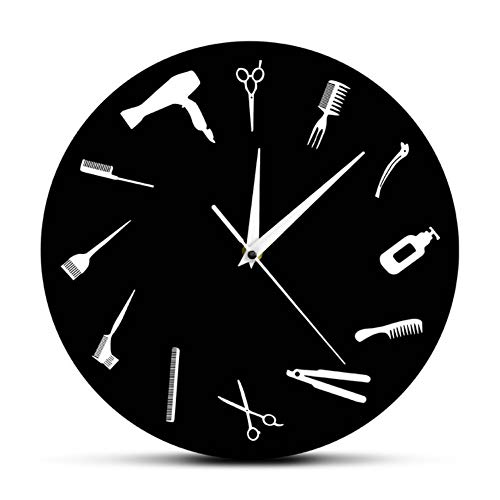 hysxm Peluquería Business Business Sign Barber Equiment Wall Art Decor Reloj Peluquería Estilista Herramientas Salón De Belleza Reloj De Pared Moderno, Negro