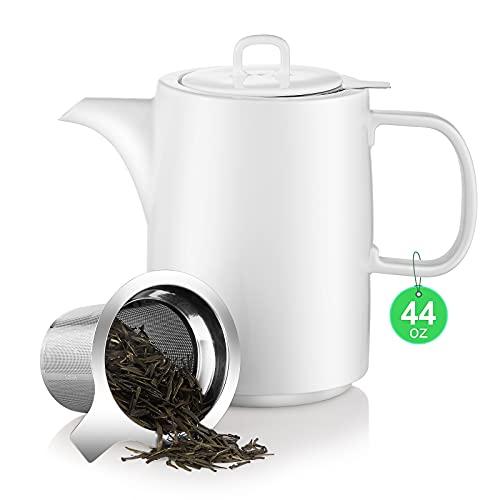 Teekanne Teapot Klassisch Form aus Keramik mit Nicht-tropfendem Ausguss 1,4L Kanne Porzellan Kaffeekanne - Weiß