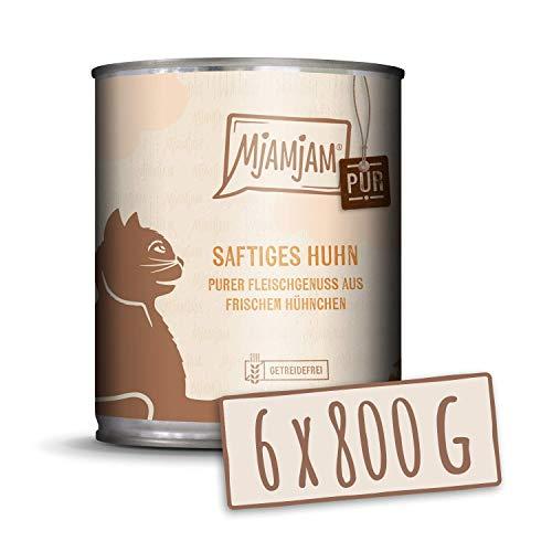 MjAMjAM - Pienso acuoso para Gatos - Jugoso Pollo Puro - Sin Cereales - 6 x 800 g