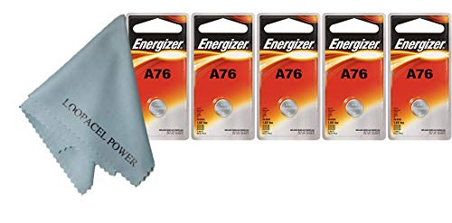 5 Energizer A76 LR44 1.55V Button Cell Alkaline Batteries (Individually Packaged Each with Retail Hanging Tab)