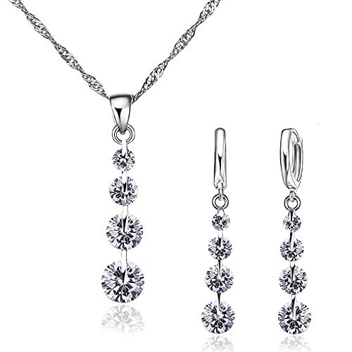 Conjunto de Joyas de plata 925 para Mujer, Juego de Collar y Pendientes con Circonitas, Regalo para Mujer (White)
