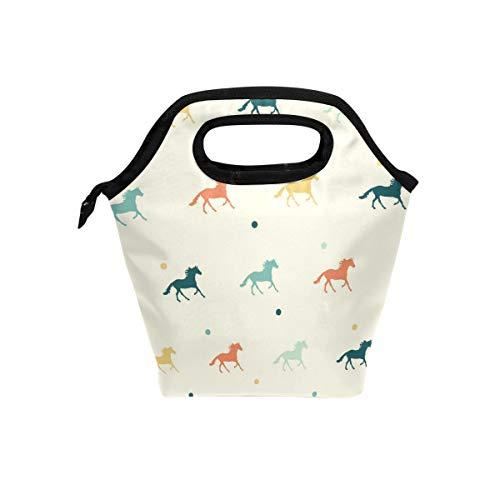 Tizorax Colored cavalli borsa termica per il pranzo all' aperto viaggio picnic Carry case lunch Tote borse per donne uomini bambini
