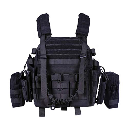 Greencity Tactical Military Vest Assault Vest Molle Vest for CS War Game,Outdoor Hunting, Combat Training, Army Fans, Survival Game for Men Women(Black)