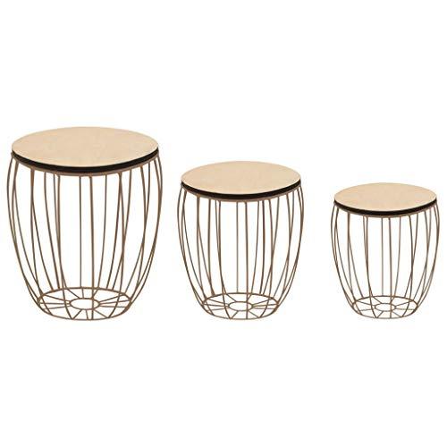 lyrlody- Mesa de café con cesta de metal, 3 mesas auxiliares redondas, mesa de salón con espacio de almacenamiento para salón, dormitorio, balcón