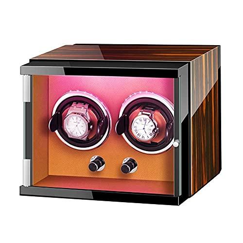 NuanXing Caja enrolladora de Reloj automática con Luces de Colores Pintura de Piano Exterior Ajustable Almohadas para Reloj Adaptador de CA y enrollador de Reloj con Pilas