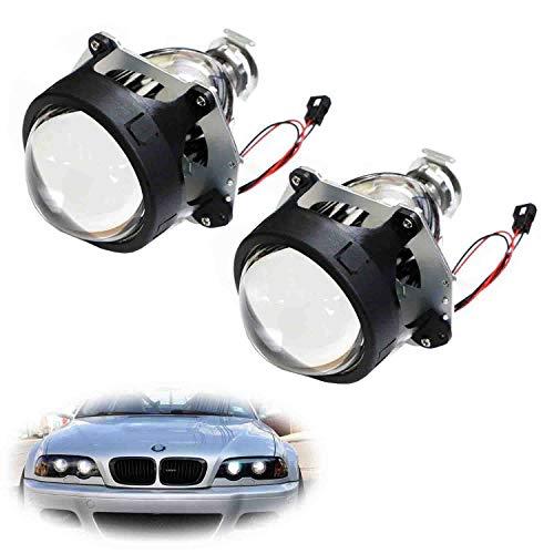 iJDMTOY (2) 3.0-Inch H1 Bi-Xenon Headlamp Projector Lens Compatible With Headlights Retrofit, Custom Headlamps Conversion