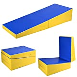 Giantex Incline Gymnastic Mat Wedge Shape Gymnastic, Gym Fitness Tumbling Skill Shape Mat for Kids Girls Home Training Exercise, Blue/Yellow (70''x30''x14'')
