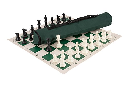 Quiver Chess Set Combination - Triple Weighted - by US Chess Federation (Forest Green)