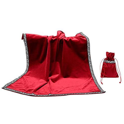 AmyGline Altar Tarot Tischdecke Tarot Dicker Samt Tasche Dekor Weissagungs Karten Wicca Square Tischdecke Tarot Pouch (Rot)