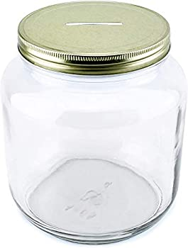 Cornucopia Large Coin Bank Jar  Half Gallon Clear Glass Piggy Bank with Gold Slotted Lid